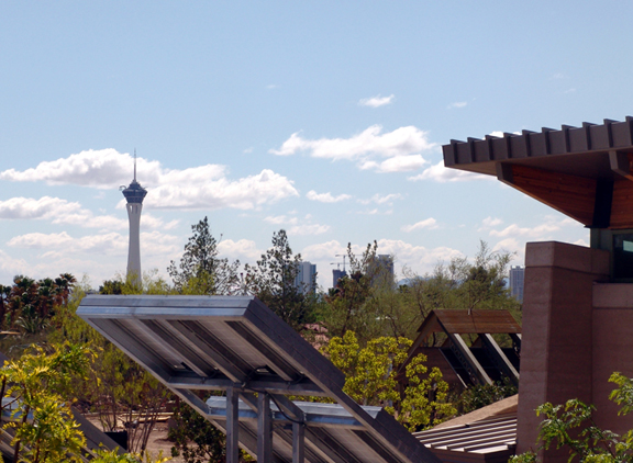 A view of the Las Vegas skyline from the Springs Preserve