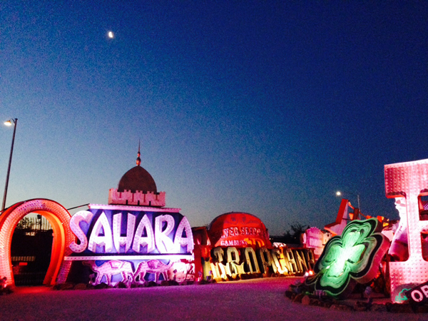 The Sahara sign lit up at night