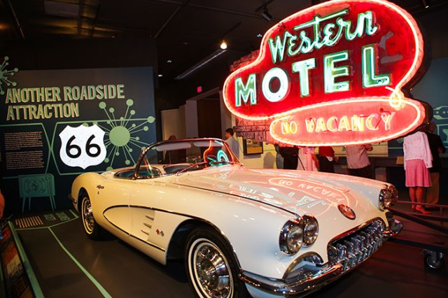 Inside the finished Route 66 exhibition